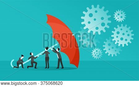 Umbrella Protecting Working Business People In Covid-19 Coronavirus Pandemic - Save Your Business Co