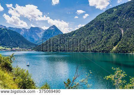 Beautiful View On Achensee, Achen Lake. Pertisau, Karwendel Alps In Tyrol, Tirol, Austria.