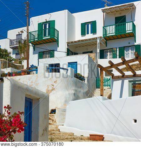 Whitewashed houses in Mykonos in Greece