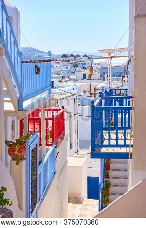 Stairs and balconies of Mykonos town, Greece. Greek cityscape