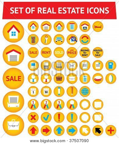Set Of 56 Real Estate Icons