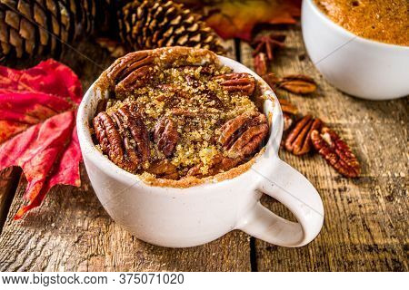 Traditional Autumn Cakes In Microwave Mug Pies