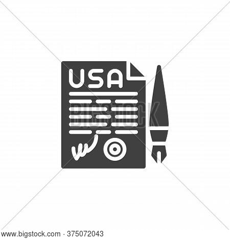 United States Declaration Of Independence Vector Icon. Filled Flat Sign For Mobile Concept And Web D