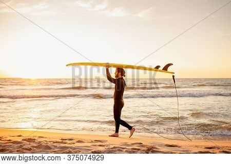 Young Fit Surfer In Wetsuit With Blank Yellow Surfing Longboard Walk From Water At Sunset Ocean. Wat