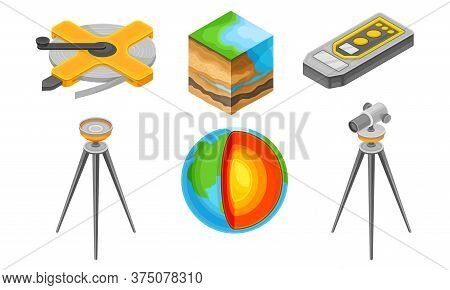 Geology Measurement Instruments With Soil Cross Section And Tripod Device Vector Set
