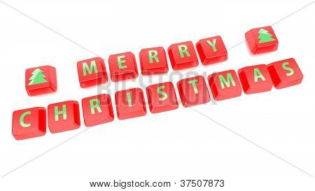 Merry Christmas Written In Green On Red Computer Keys