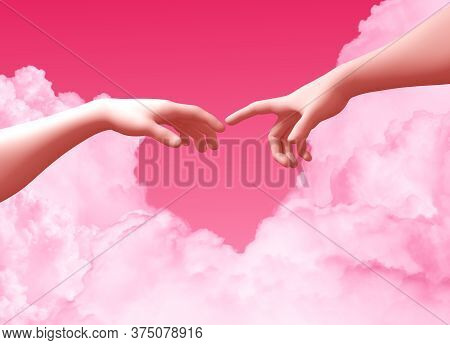 Two Hands And Clouds On Pink Background Create A Heart Shape. 3d Illustration.
