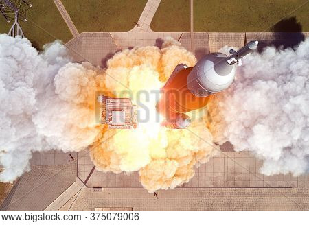 Launch Of Heavy Carrier Rocket Space Launch System . Aerial View. 3d Illustration.
