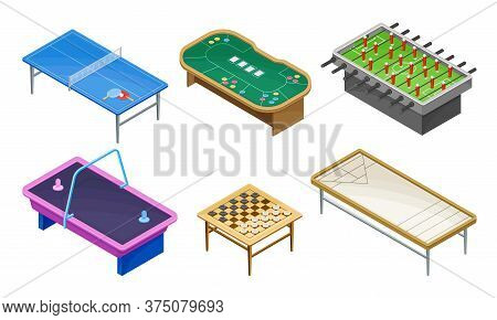 Tables For Board Games With Tennis Table And Air Hockey Table Vector Set