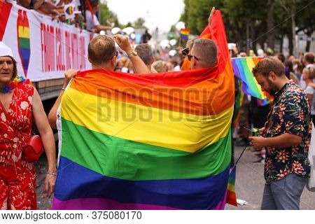 The Annual Pride Parade Lgbt. Impressions From Gay And Lesbians Participating In The Gay Pride Parad