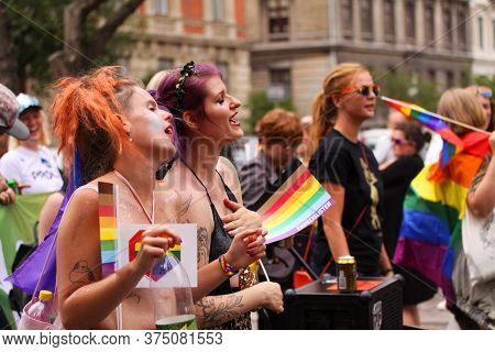 Girls Singing At The Annual Pride Parade Lgbt. Impressions From Gay And Lesbians Participating In Th
