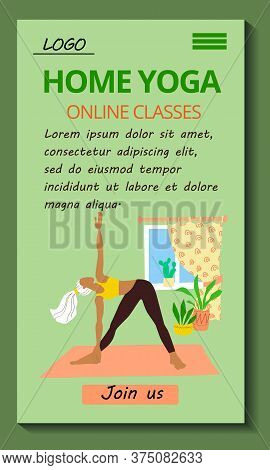 Mobile Application Yoga Classes Online Template. Stock Vector Flat Modern Illustration For The Desig