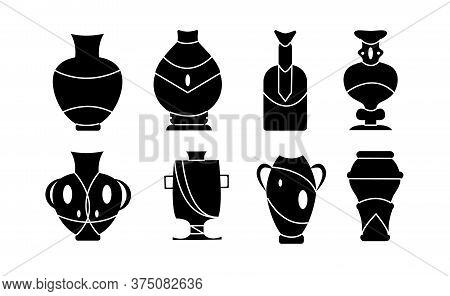 Vase For Flower Black Vector Illustration On White Background . Pottery Vase Set Icon.vector Illustr