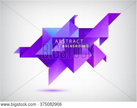 Vector Faceted 3d Crystal Colorful Shape, Banner. Triangle Abstract