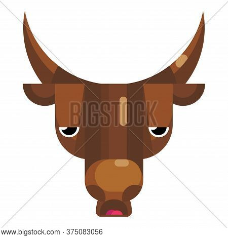 Angry Bull Face Emoji, Annoyed And Sad Cow Icon Isolated Emotion Sign