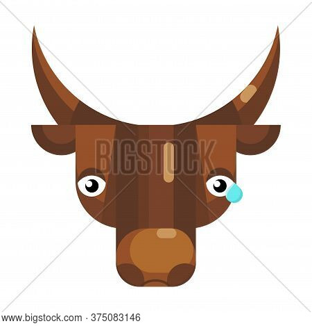 Upset Bull Face Emoji, Sad Cow With Tear Icon Isolated Emotion Sign