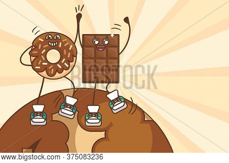 World Chocolate Day Illustration With Dancing Sweet Donut And Chocolate Bar Characters