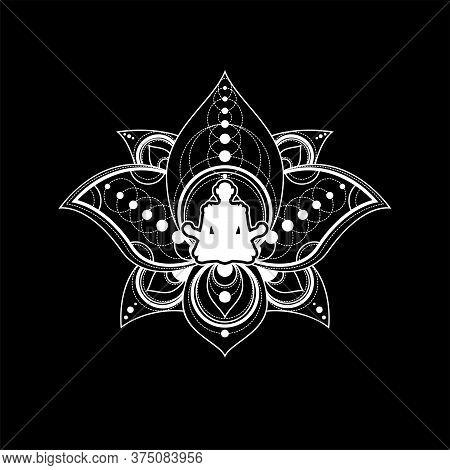Lotus Yoga Logo Template Female Zen Meditation
