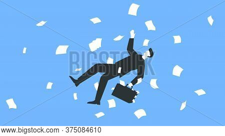 Vector Illustration Of A Businessman In A Suit And With A Briefcase Falling With A Paper Flying All