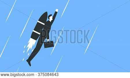 Vector Illustration Of A Businessman In A Suit With A Briefcase Flying Up With A Rocket Behind The B
