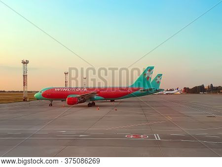 Kiev,ukraine- September 2, 2019 -the Plane Windrose Airlines At The Aerodrome At The Sunset. Colorfu