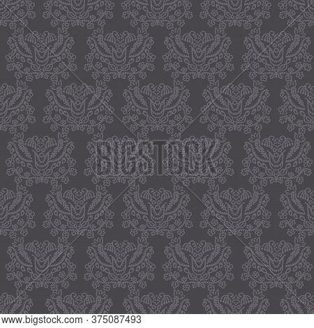 Dark Brown Arabesque Background. Seamless Retro Damask Vector Pattern. Stylized Drawn Vintage Flower