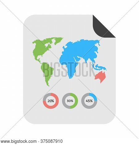 Geographical Statistics Symbol. World Continents With Details On Map Icon. Flat Icon Design.