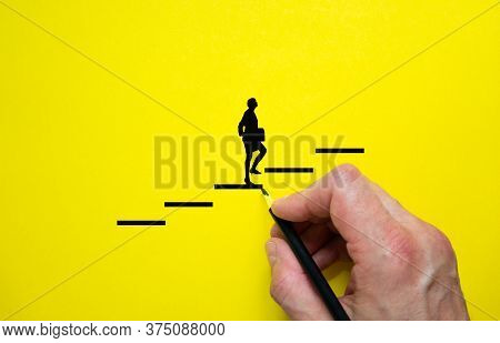 Conceptual Image Of Personal Vision, Education And Development. Beautiful Yellow Background, Copy Sp