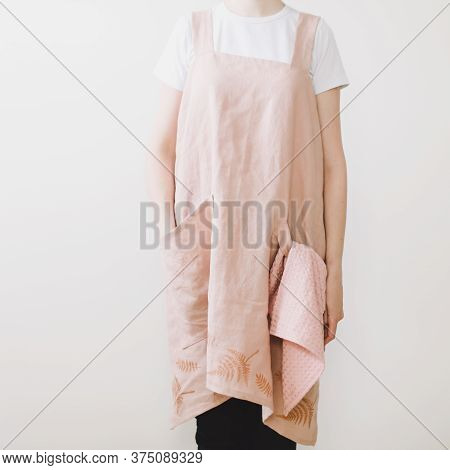 Woman In Japanese Cooking Linen Apron.  Kitchen Textile. Clean Natural Fabric Apron. Food Blogger Co