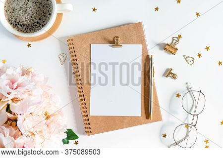 Desktop Mock Up Planner. Flat Lay Of White Working Table Background With Cup Of Coffee Putting On It