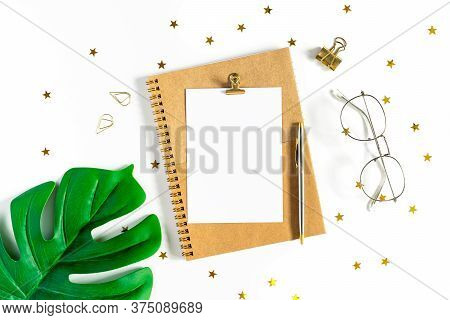 Desktop Mock Up Planner. Top View Of White Working Table Background With Office Equipment Putting On