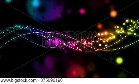 Rainbow Lines With Glitter On A Black Background. Colorful Shiny Lines, Waves. Abstract Shiny Design