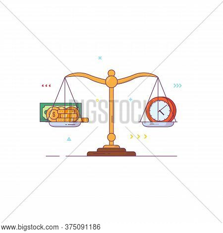 Scales Banner. Balance And Weight Measurement Concept. Money And Time Comparison. Golden Coins And P