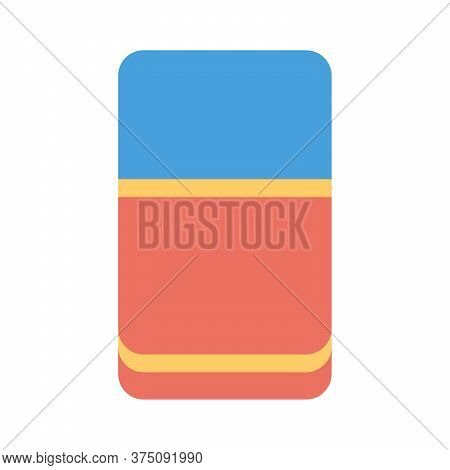 Eraser Icon In Flat Style. Perfect Flat Design For School, Stationery Concept.