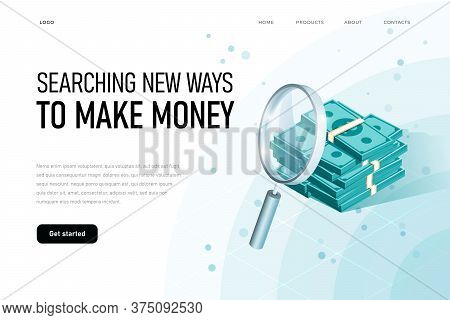 Exaggeration Of Profit Illustration Concept. Searching Money, Wealth, Finance, Idea, Searching New W