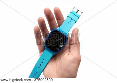 Multicolored Kids Smart Watch Phone With Broken Screen Isolated On White Background. Technology For