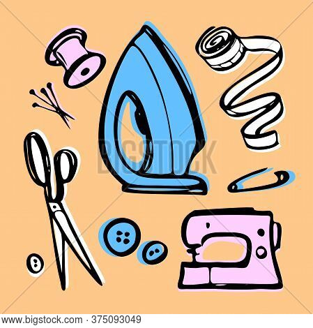 Sewing - Set. Doodle Kit For Fashion Designer To Sew. Tailoring Shop - Color Illustration. Iron, Sew