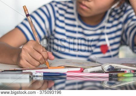 Student Study At Home For Education, Back To School And Literacy Day Concept With Girl Kid Self-lear