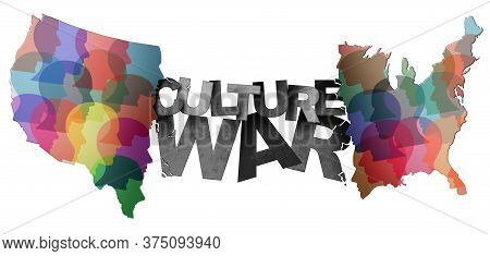 Culture War And Cultural Wars Concept Or Usa Heritage And Divided American Politics As Different Phi