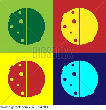 Pop Art Eclipse Of The Sun Icon Isolated On Color Background. Total Sonar Eclipse. Vector Illustrati