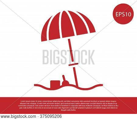 Red Sun Protective Umbrella For Beach Icon Isolated On White Background. Large Parasol For Outdoor S