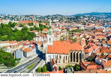 The St. Martin Cathedral Aerial Panoramic View. St Martin Cathedral Is A Roman Catholic Church In Br