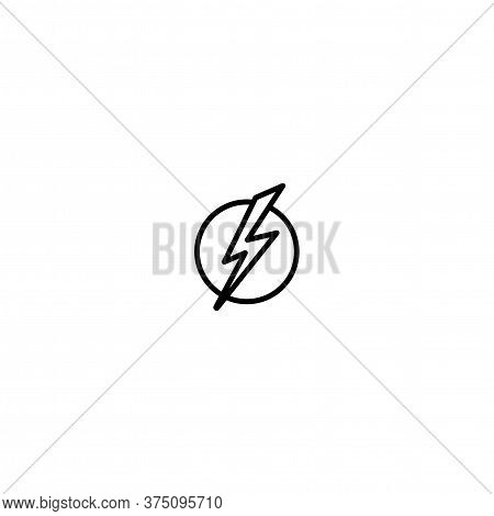 Black Lightning Bolt In Circle Simple Flat Icon. Storm Or Thunder And Lightning Strike Sign Isolated