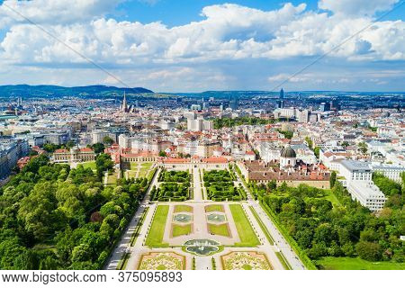 Belvedere Palace Aerial Panoramic View. Belvedere Palace Is A Historic Building Complex In Vienna, A