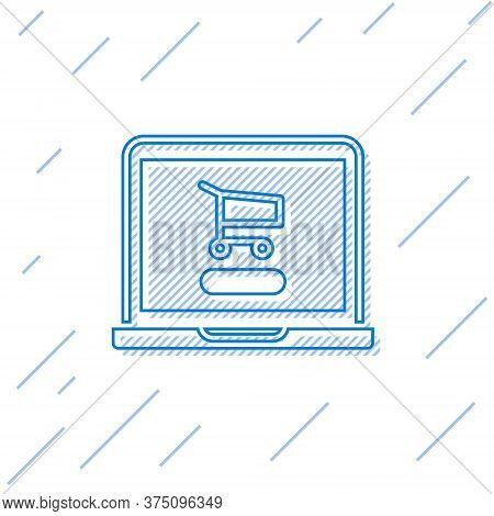Blue Line Shopping Cart On Screen Laptop Icon Isolated On White Background. Concept E-commerce, E-bu