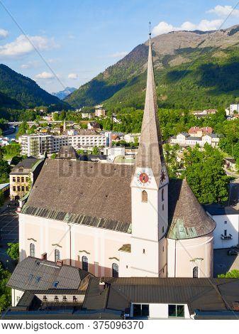 Pfarrkirche Bad Ischl Or Parish Church Aerial Panoramic View, Austria. Bad Ischl Is A Spa Town In Th