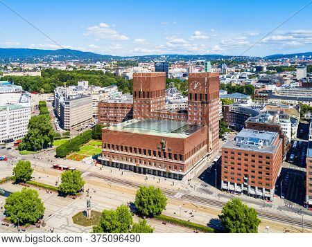 City Hall Or Radhus In Oslo, Norway. Oslo City Hall Is A Municipal Building, Houses The Oslo City Co