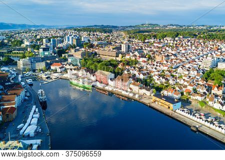 Vagen Old Town Aerial Panoramic View In Stavanger, Norway. Stavanger Is A City And Municipality In N