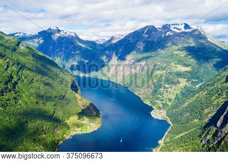 Geirangerfjord And Geiranger Village Aerial View From Flydalsjuvet Viewpoint, Norway