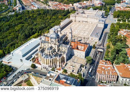 Almudena Cathedral And Royal Palace Of Madrid Aerial Panoramic View In Madrid, Spain